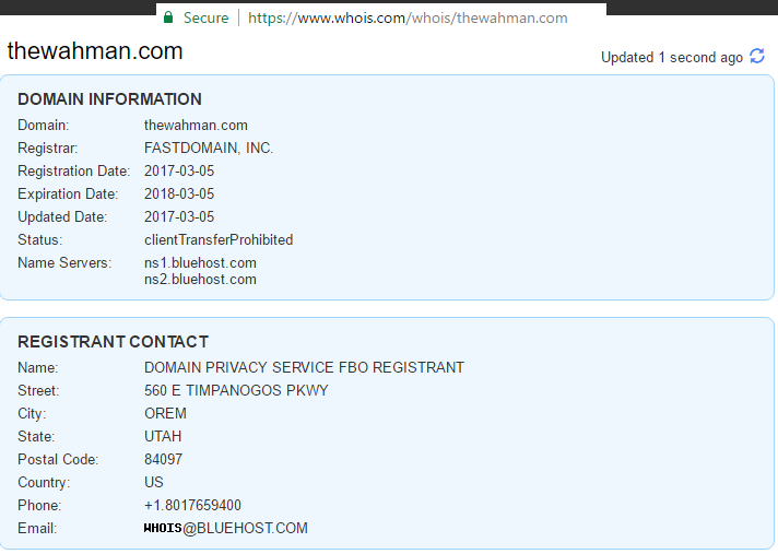 whois domain information with whois protection