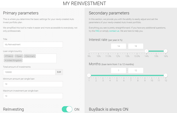 Automatic Investment Feature including loan origin, amount of investment, interest rate, and loan duration.