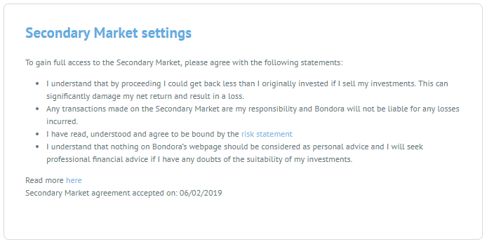 Secondary Market Settings. These must be agreed to before accessing the Secondary Market through the P2P platform.