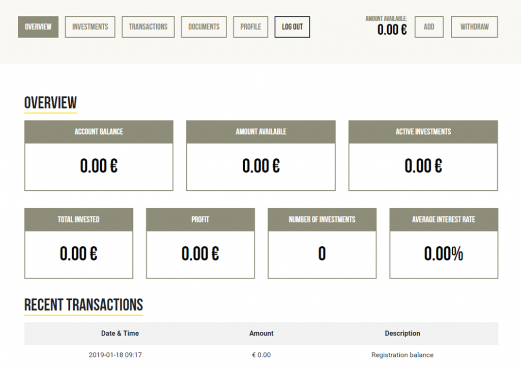 The Dashboard. Users can see everything related to their accounts, including account balance, active investments, profit and average interest rate.