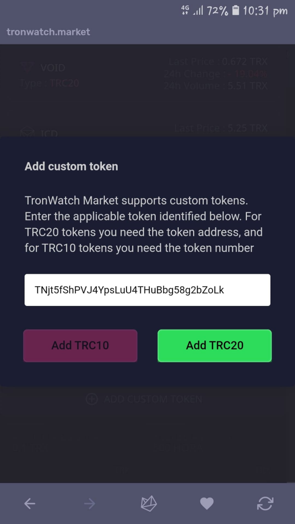 Adding a custom token on to the TronWatch Market on the Tron Wallet