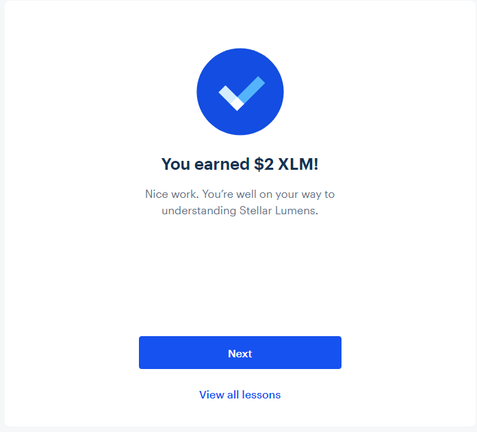 An example of earning free cryptocurrency (XLM) through Coinbase Earn.