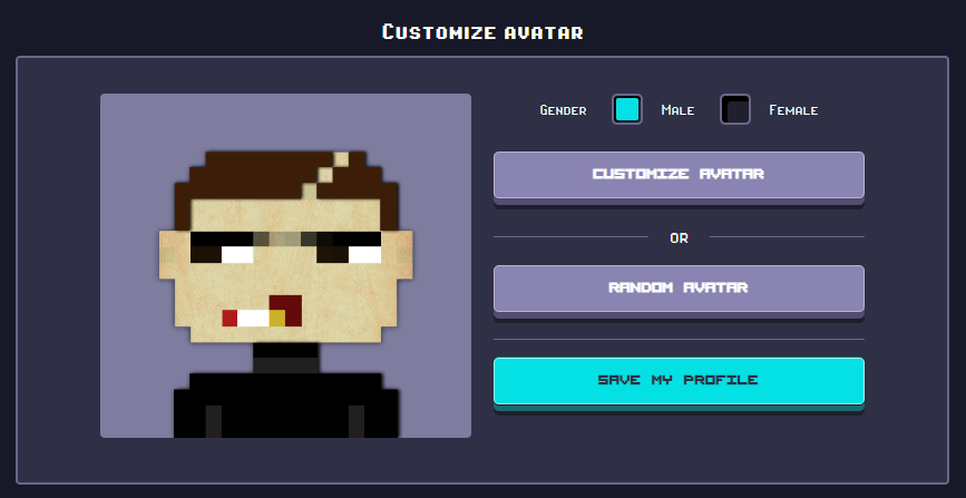 Rollercoin character creating screen