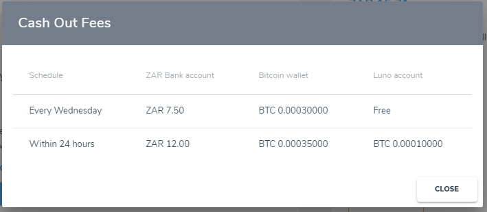 Cash out fees for the Sun Exchange