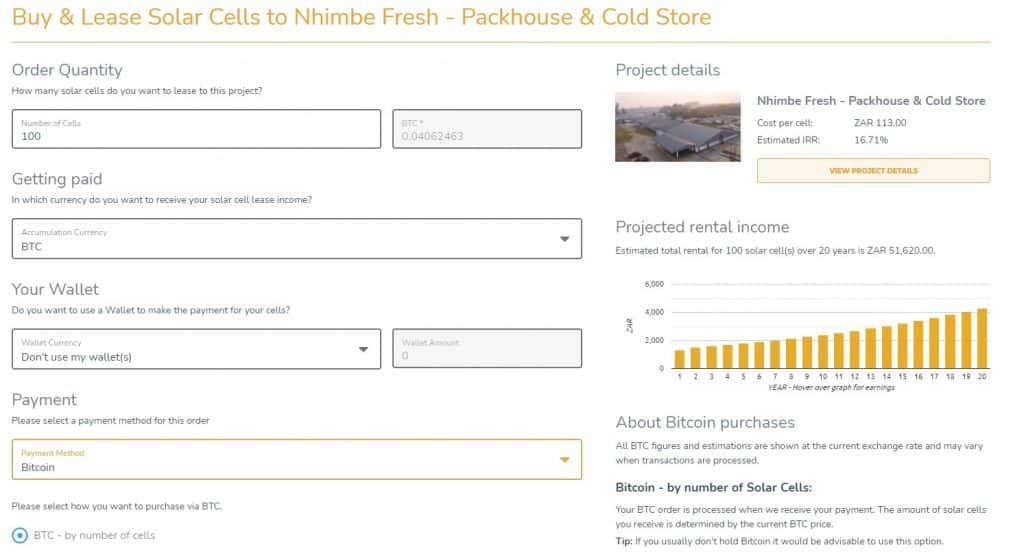 The Sun Exchange payment screen example
