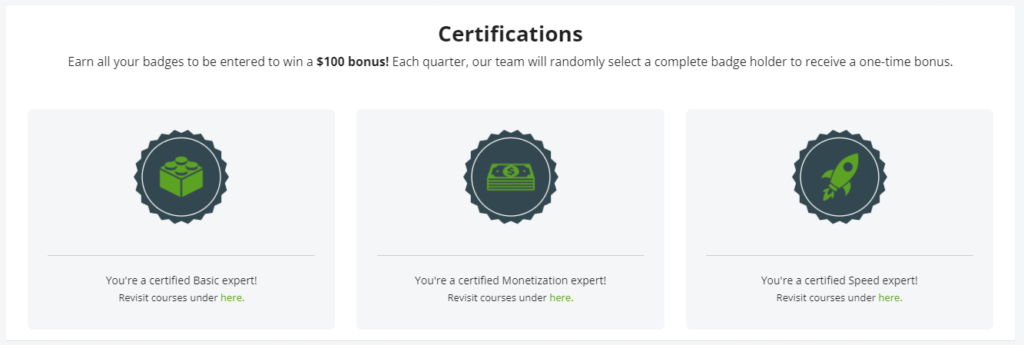 Ezoic Certifications. Basic, Monetization and Speed.