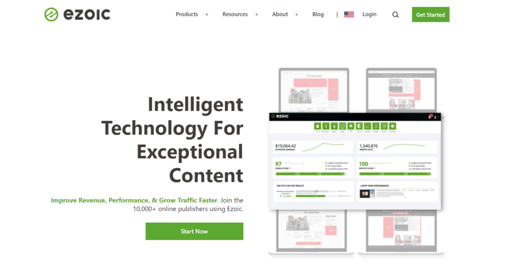 10,000+ online publishers use Ezoic to improve revenue, performance and grow traffic.